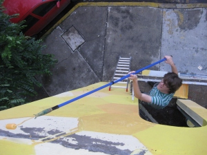 steffan painting from balcony