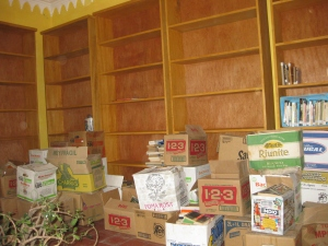shelves and books in boxes
