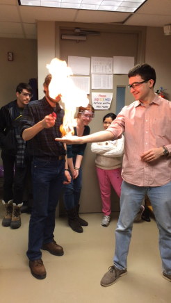 Later in the session, Larry, the IGCSC Chair and chemistry major, joined us and tried out the demonstration
